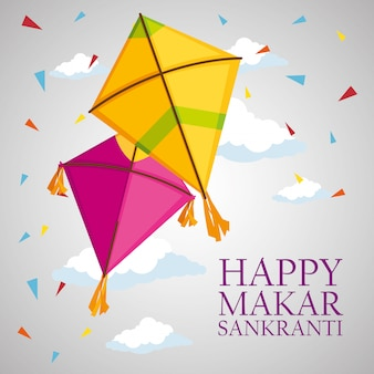 Makar sankranti greeting with kites and confetti