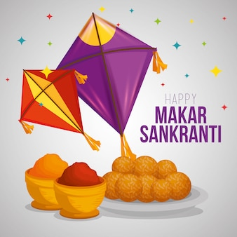 Makar sankranti greeting with kites and food