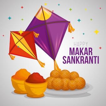 Makar sankranti greeting with kites and food