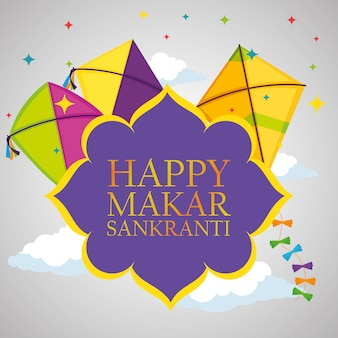 Makar sankranti greeting with kites