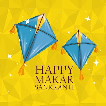 Makar sankranti greeting with kites