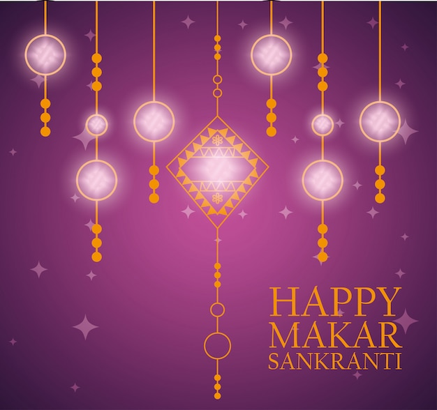 Makar sankranti greeting with ornaments
