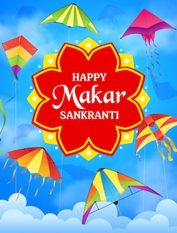 인도 종교 축제의 하늘 벡터 인사말 카드에 있는 makar sankranti 휴일 연. 흰 구름과 함께 푸른 하늘을 나는 축제 연과 다채로운 종이 장난감, 힌두교 종교 행사
