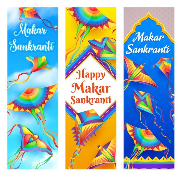 Makar sankranti kite banners of hindu religion indian and nepal festival