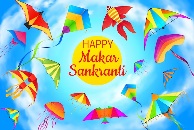 Makar sankranti kites flying in blue sky greeting card