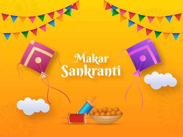 Makar sankranti text with kites illustration