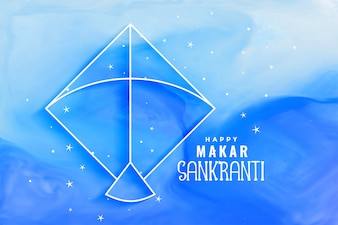 Makar sankranti watercolor blue background