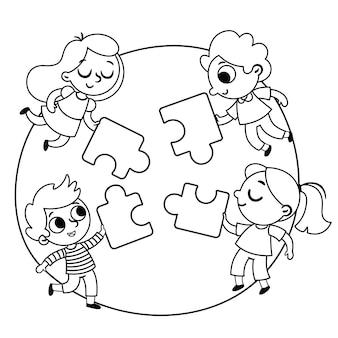 Сделать пазл черно-белые векторные иллюстрации