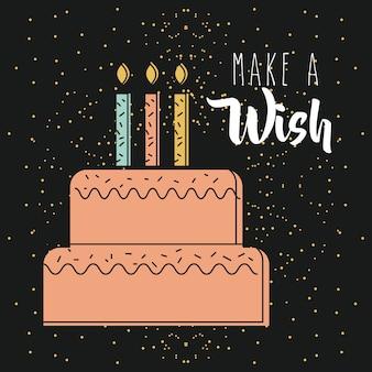 어두운 배경을 타는 촛불로 소원 핑크 케이크 만들기