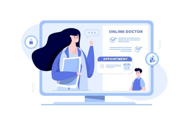 온라인 의사 앱 일러스트레이션 컨셉에 예약하기