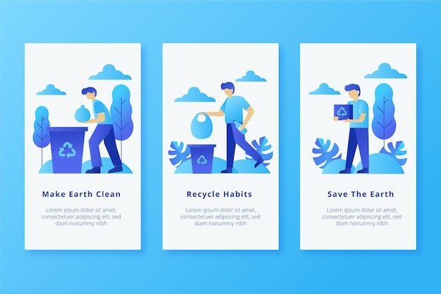 Make earth cleaner mobile app screens