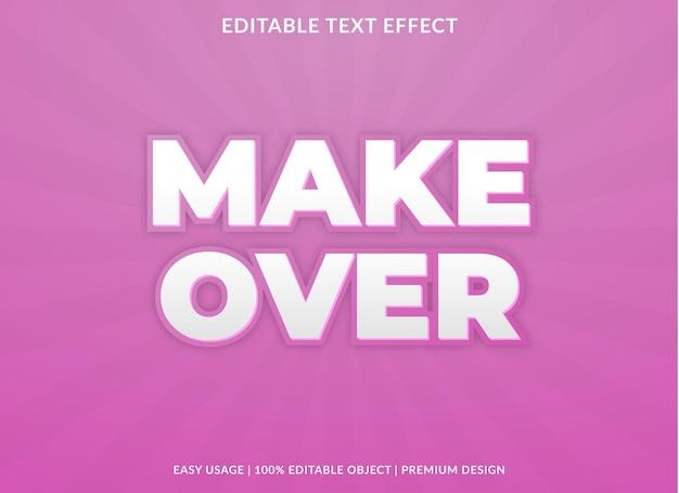 Make over editable text effect template premium vector