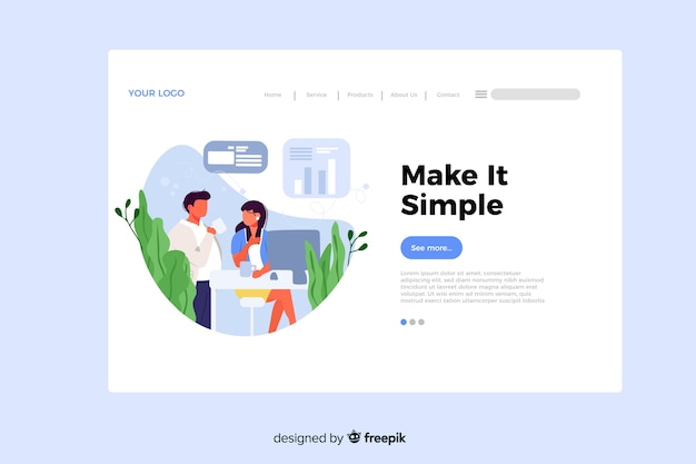 Make it simple concept for landing page