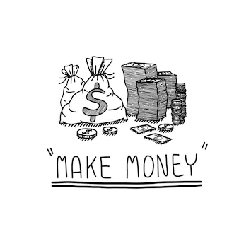 Make money concept of hand draw