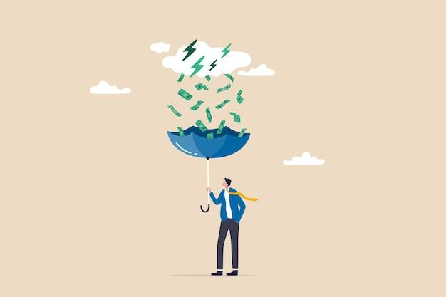주식 시장 투자에서 돈 아이디어, 수동 소득 또는 이익 및 배당금, 재정적 성공 개념, 우산을 사용하여 투자 뇌우에서 떨어지는 돈을 모으는 부유한 사업가.