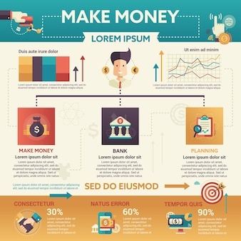 Make money - info poster, brochure cover template layout with   icons, other infographic elements and filler text