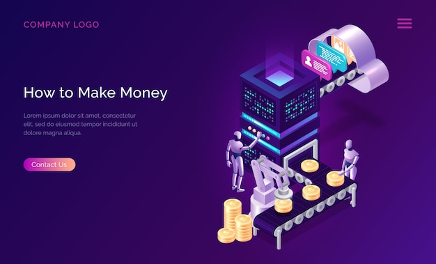 Make money, isometric concept metaphor