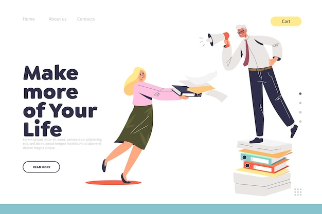 Make more of life landing page concept with angry boss scolding female assistant or secretary busy with paperwork. office slavery. businessman screaming at worker.