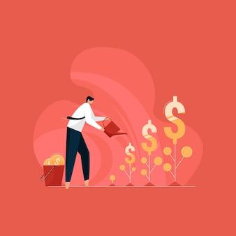 Сделайте больше прибыли в бизнес-концепции, бизнесмен, поливающий долларовые растения, современные инвестиции