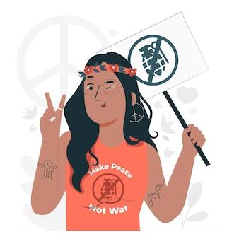 평화가 아닌 전쟁 개념 그림 만들기
