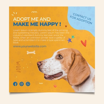 Make a pet happy adopt square flyer template
