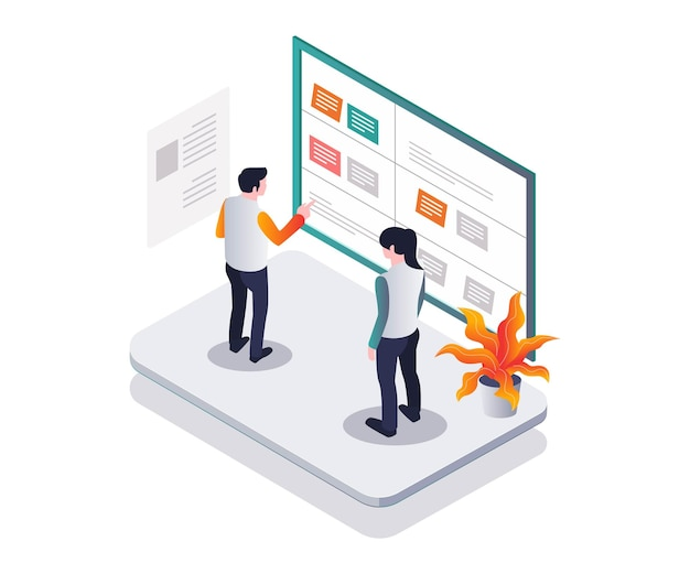 Make a plan on the scrum board in isometric design