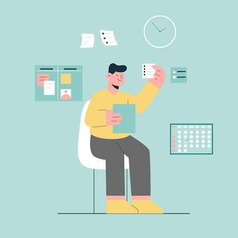 メモのコンセプトで計画を立てます。メモ書き込みリストの計画を持つ男。リストのパニングを行うためのタイムカレンダー。