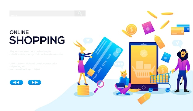 Make purchases without leaving your home web banner. purchases from anywhere in the world vector.