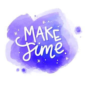 Сделать сообщение времени на акварельной окраске