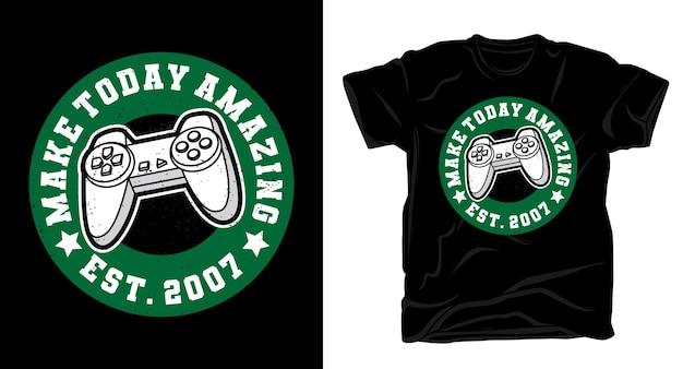 Создайте сегодня потрясающую типографику с дизайном футболки с игровым контроллером