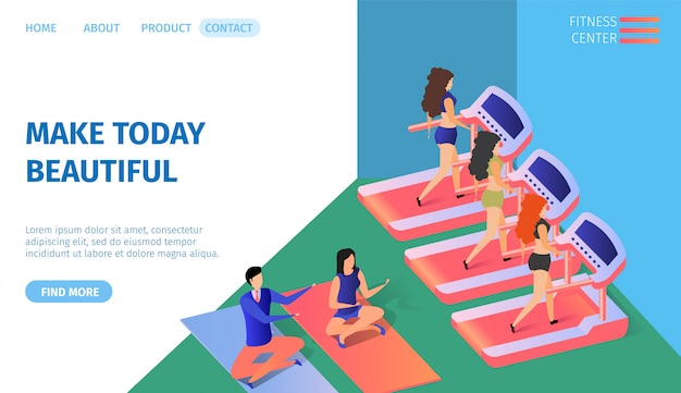 Make today beautiful horizontal banner. fitness