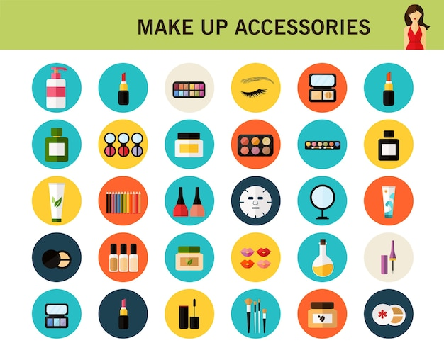 Make up accessories concept flat icons.