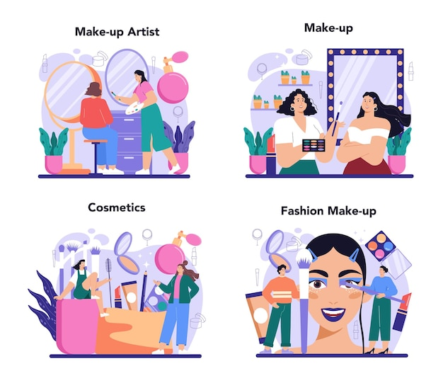 Make up artist concept set professional artist doing a beauty procedure