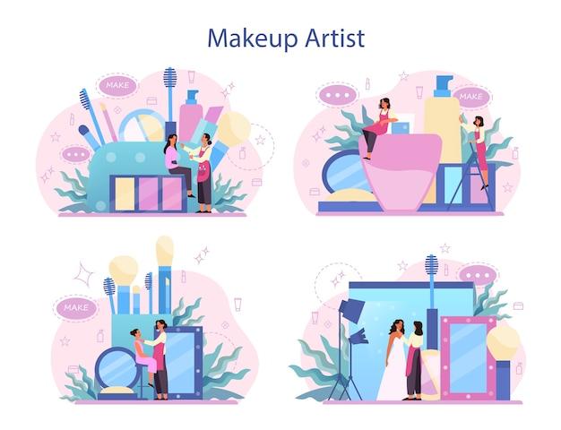 아티스트 컨셉 세트를 구성합니다. 여자는 아름다움 절차를 하 고 얼굴에 화장품을 적용합니다. 브러시를 사용하여 모델에게 메이크업을하는 visagiste.