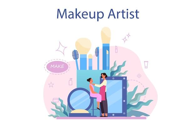 아티스트 컨셉을 구성하십시오. 여자는 아름다움 절차를 하 고 얼굴에 화장품을 적용합니다. 브러시를 사용하여 모델에게 메이크업을하는 visagiste.