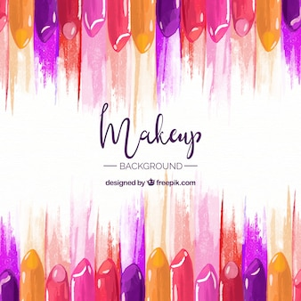 Make up background with colorful lipsticks