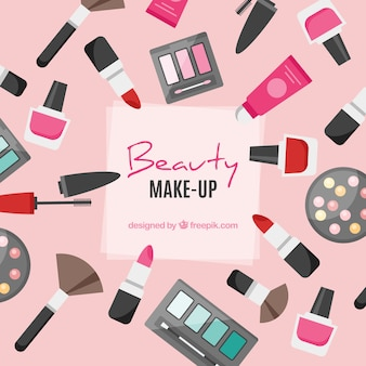 Make up background with flat design