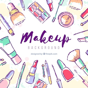Make up background with hand drawn cosmetics