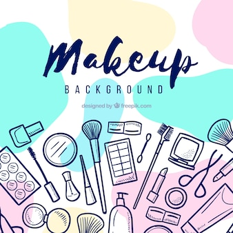 Make up background with hand drawn elements