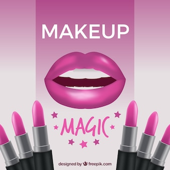 Make up background with lips and lipsticks