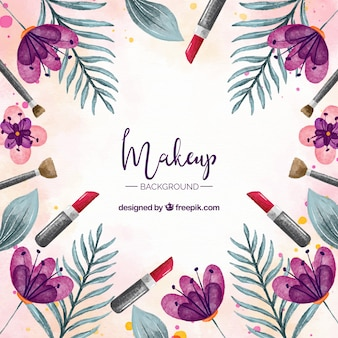 Make up background with watercolor elements