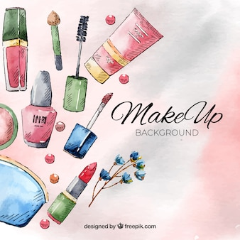 Make up background with watercolor style
