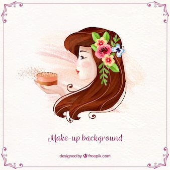 Make up background with watercolor woman