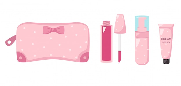 Make up bag with cosmetics,illustration