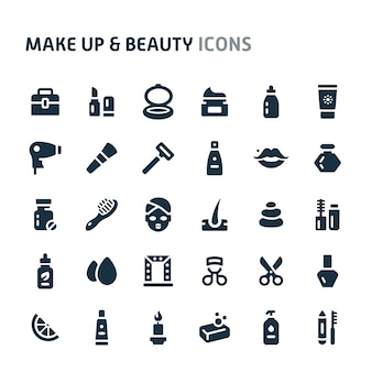 Make up & beauty icon set. fillio black icon series.