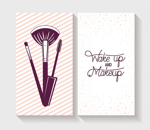 Make up brushes accessories in card