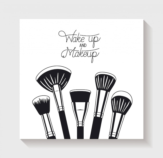 Make up brushes accessories icons