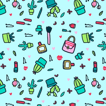 Make-up and cacti seamless pattern