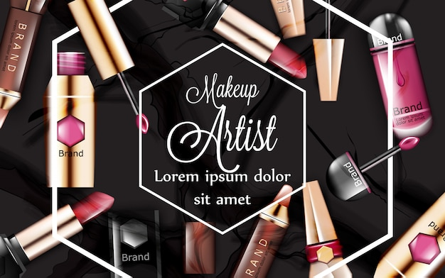 Make up card with lipsticks cosmetics