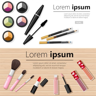 Make up concept. eye shadow palettes, eyebrow pencil, mascara, lipstick and brushes.  illustration with place for your text  on white and wooden background